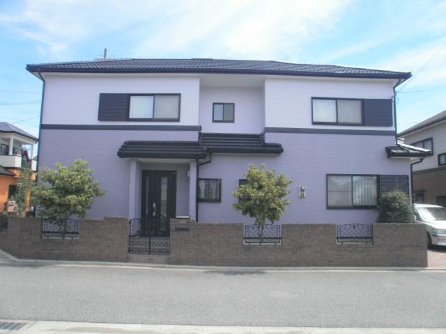 薄紫の塗装後の兵庫県加古川市O様邸