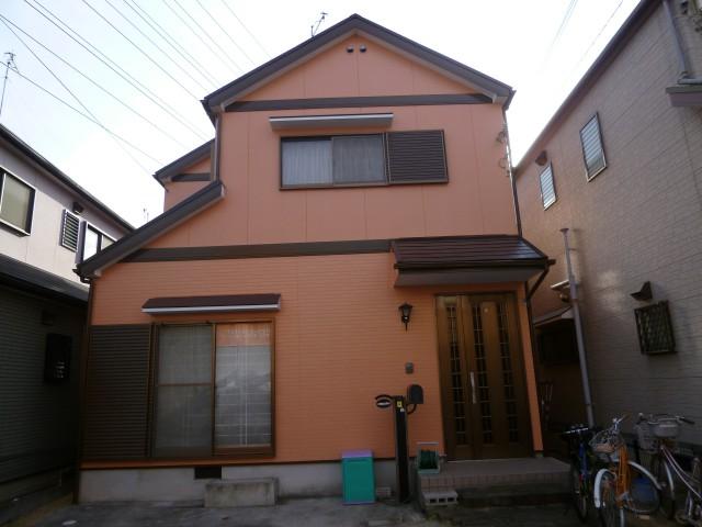 オレンジの外観色がお洒落な塗装後の兵庫県神戸市M様邸