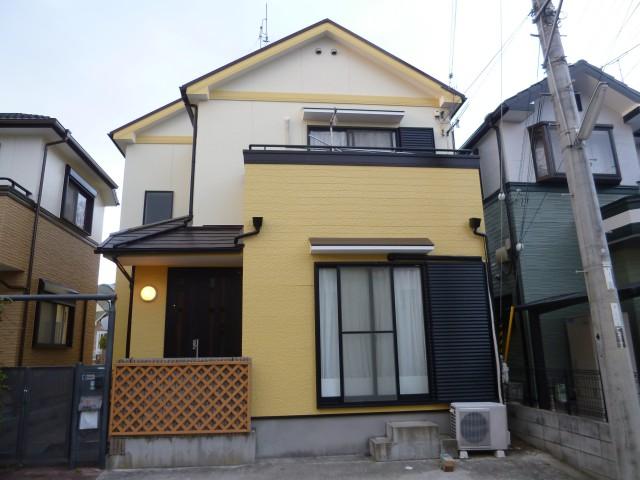 明るいイエローの塗装後の兵庫県神戸市Y様邸