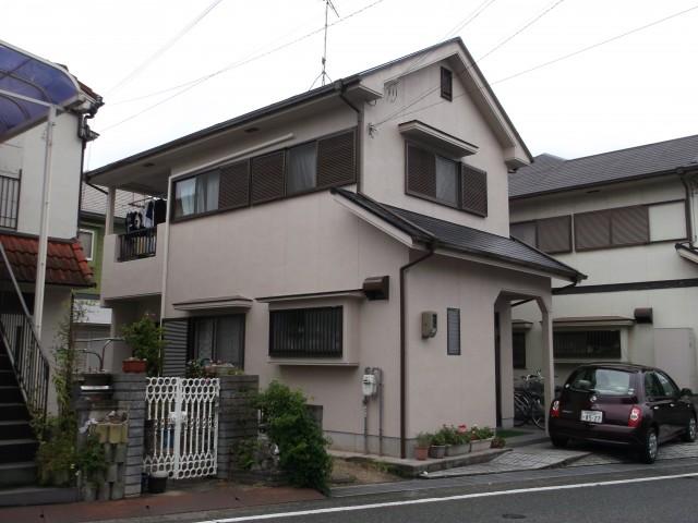 薄茶の外観色の塗装後の兵庫県加古川市K様邸