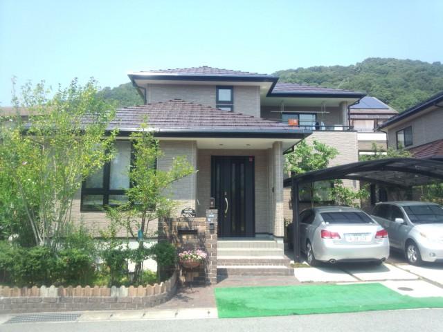ブラウン系のツートンカラー塗装後の兵庫県姫路市S様邸