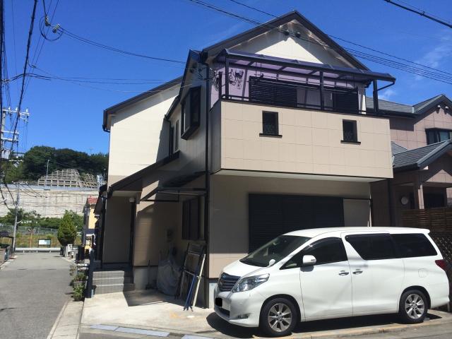 外壁塗装後の神戸市垂水区のK様邸